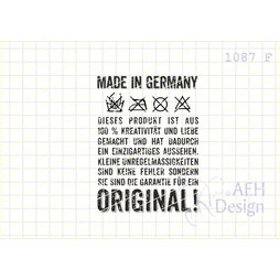 AEH Design Gummistempel 1087F - Made in Germany Label...
