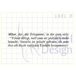AEH Design Gummistempel 1491E - Alter Duden Definition...