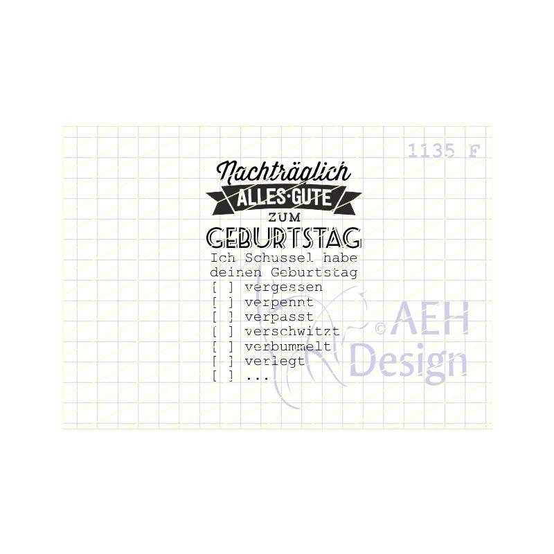 Aeh Design Gummistempel 1135f Nachtraglich Alles Gute Zum