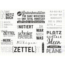AEH Design Gummistempel 1218N - Stempelset Notizen Stift...