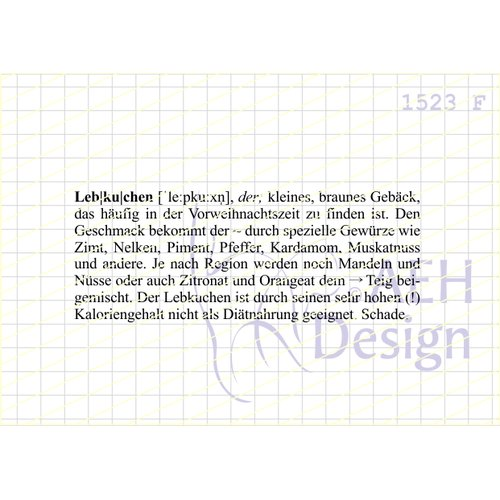 Definition Weihnachten.Aeh Design Gummistempel 1523f Definition Lebkuchen Weihnachten Gebäck Kalorien