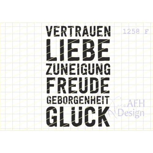 AEH Design Gummistempel 1258F - Vertrauen Liebe Freude