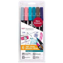 Tombow 6 ABT Dual Brush Pens - Vintage Farben Colours...