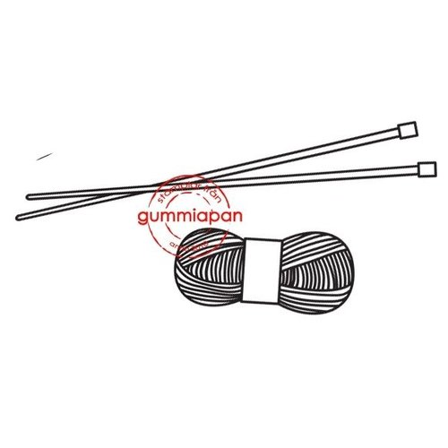 Gummiapan Gummistempel 14030305 Stricken Häkeln Garn Nadel Wolle